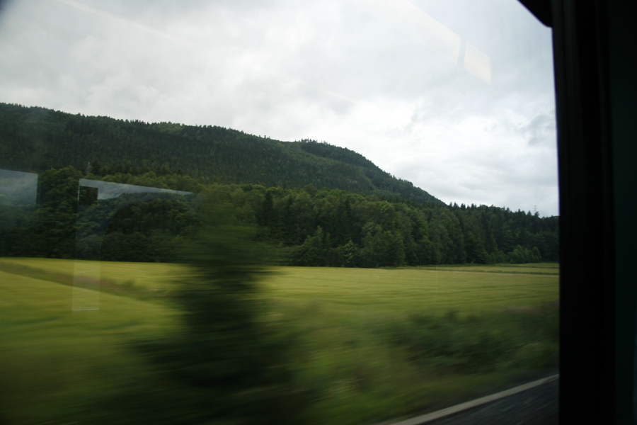 Farmland around Vestfossen on the train