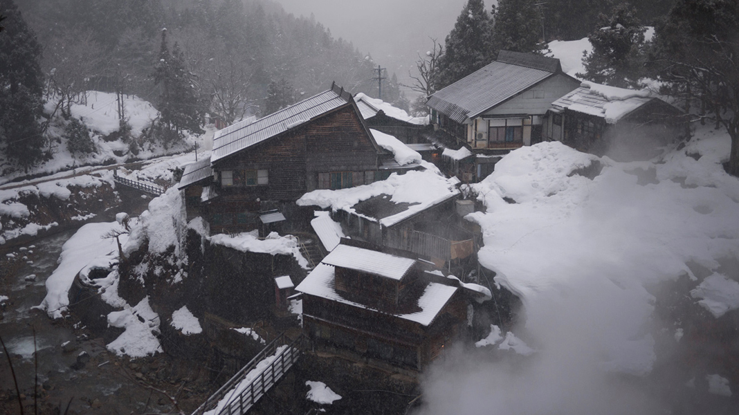 Human Onsen next to snow monkey park
