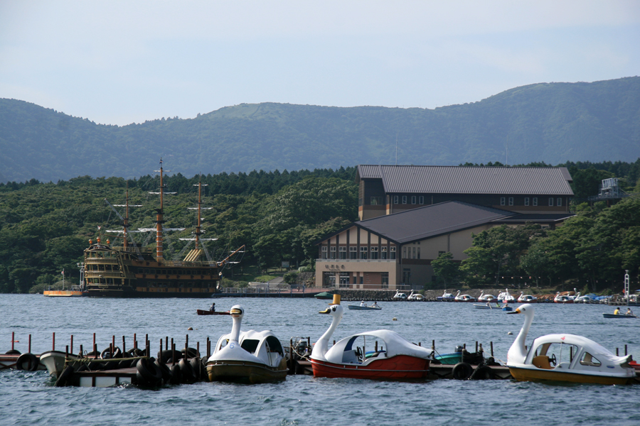 Swam boats on Lake Ashi